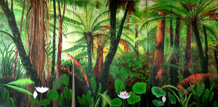 """""""In a Balinese Rain Forest"""" (triptych)"""