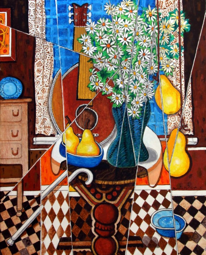 """Untitled (daisies, guitar, & pears)"""