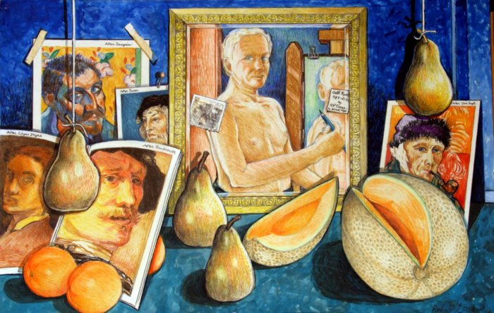 330 untitled (Self-Portrait with Artists and Fruit), 35- x 23-, acrylics, collage (photo) & colored pencils on paper (1).JPG