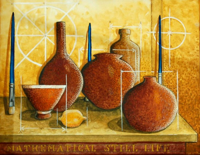 221 -Mathematical Still Life-, 18- x 14- (framed), acrylics on canvas $345