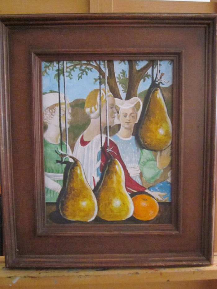 005 -Renaissance Pear or Three Dangling Pears-, 10- x 13- (framed), acrylics on canvas, with papier mache $345