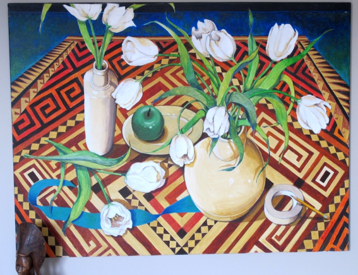 046 -Still Life with Two Lips-, 48- x 36-, acrylics on canvas $995