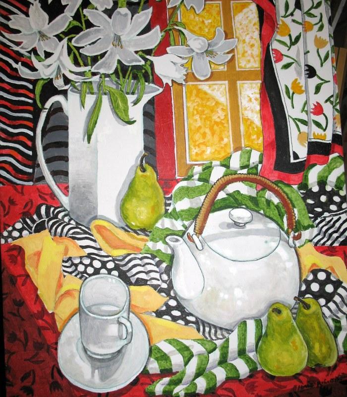 "045 NEW ""White Teapot, White Vase, & White Lilies"", 24- x 36- (framed), acrylics on canvas $695.jpg"