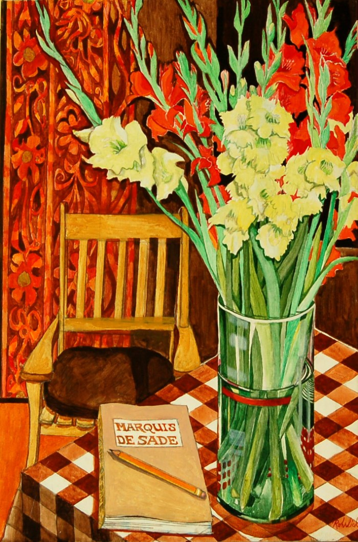 256 untitled (Gladioli and Marquis de Sade Book), 24- x 36-, acrylics on canvas (1)