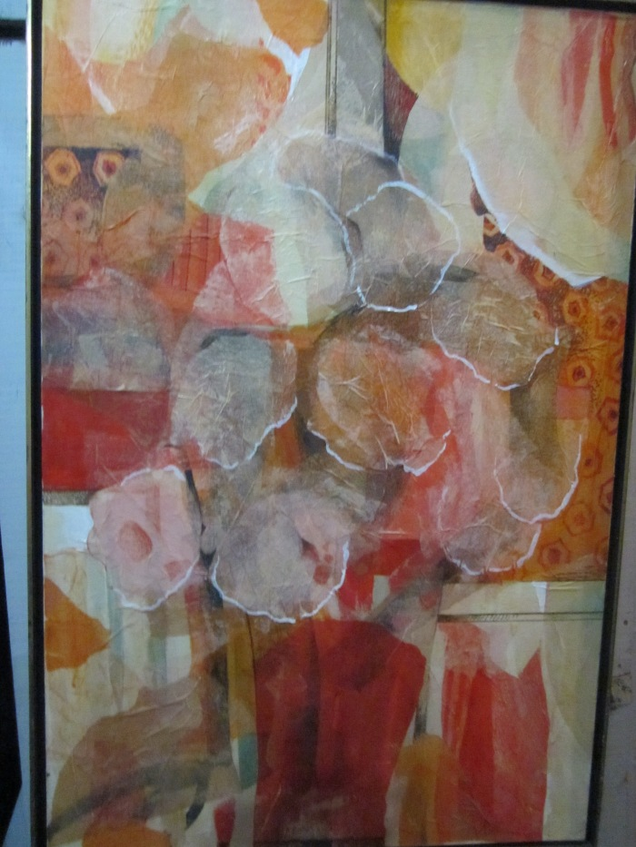 293 untitled (Red Vase with Flowers), 24- x 36-, acrylics and collage (tissue paper) on canvas (1)