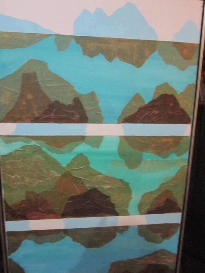 300 -Grand Canyon Suite No. 7-, 24- x 48-, acrylics and collage (tissue paper) on canvas