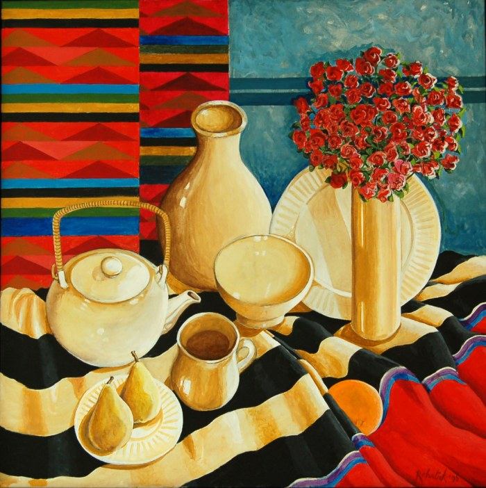 168 -Southwestern Still Life #1-, 36- x 36-, acrylics on canvas (3)