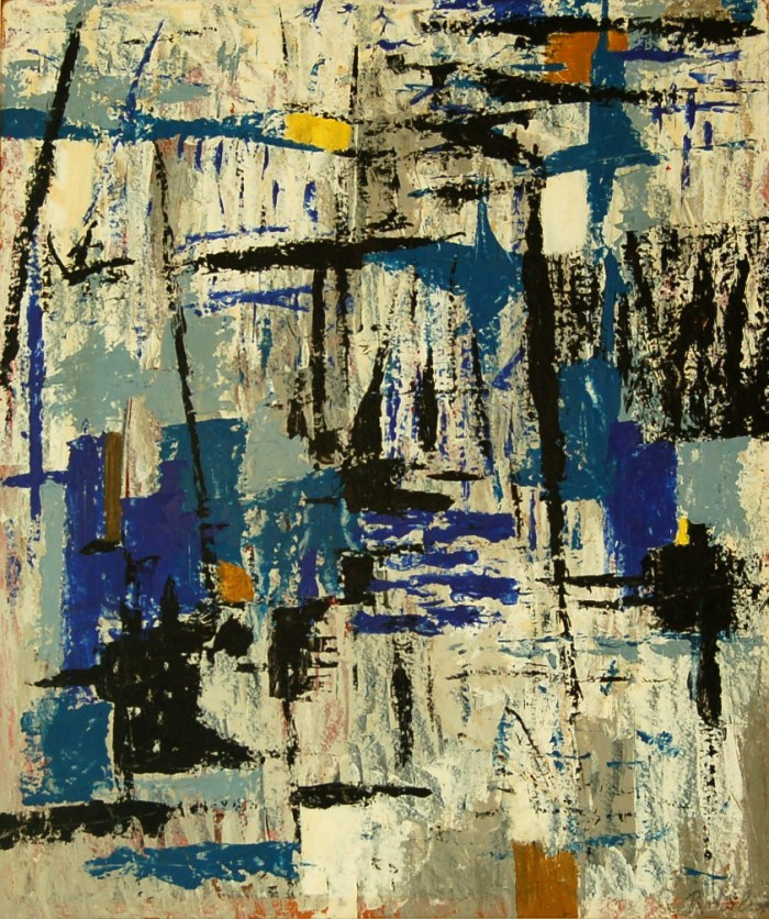 112 untitled (Abstract- Harborscape), 36- x 42- (framed), acrylics on canvas