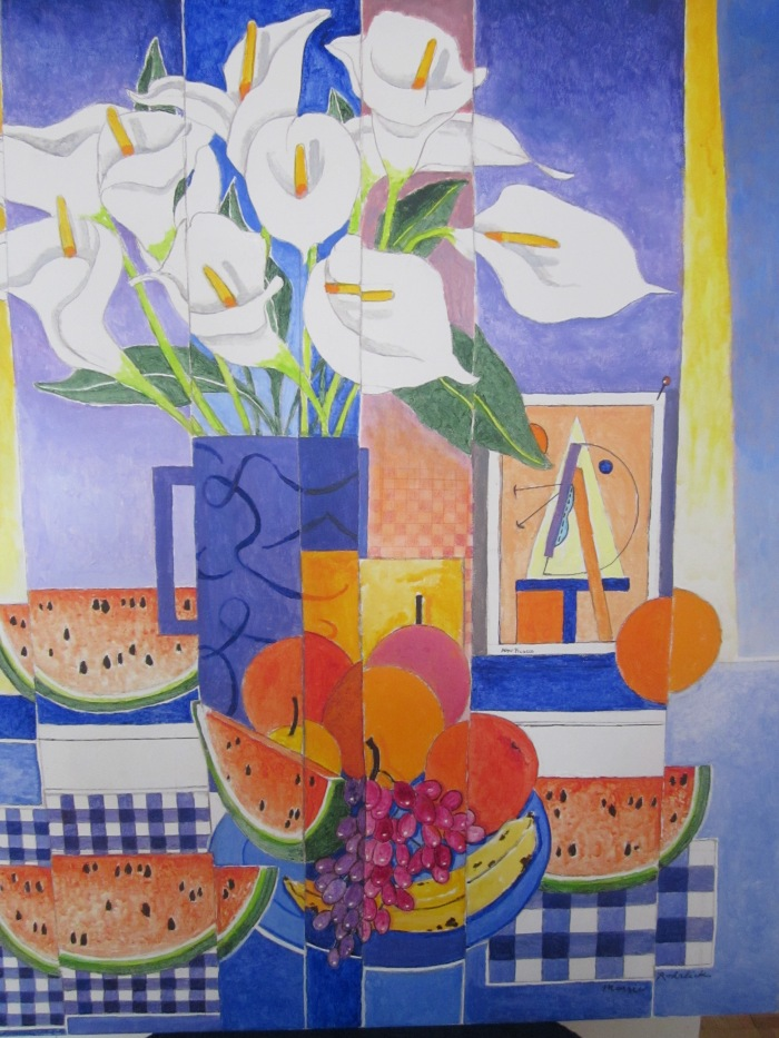 208 untitled (Calla Lilies, Watermelons, Oranges), 30- x 36-, acrylics on canvas (1)