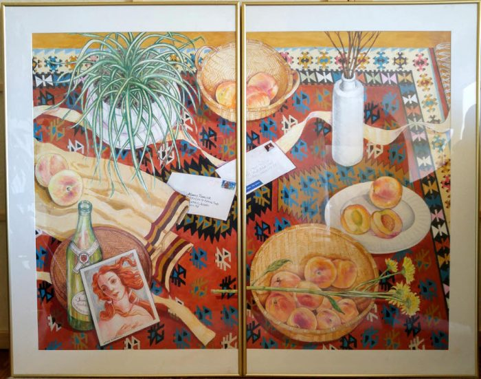 087-venus-peaches-on-the-kilim-2-panels-each-25-x-41-framed-acrylics-colored-pencils-on-paper-1