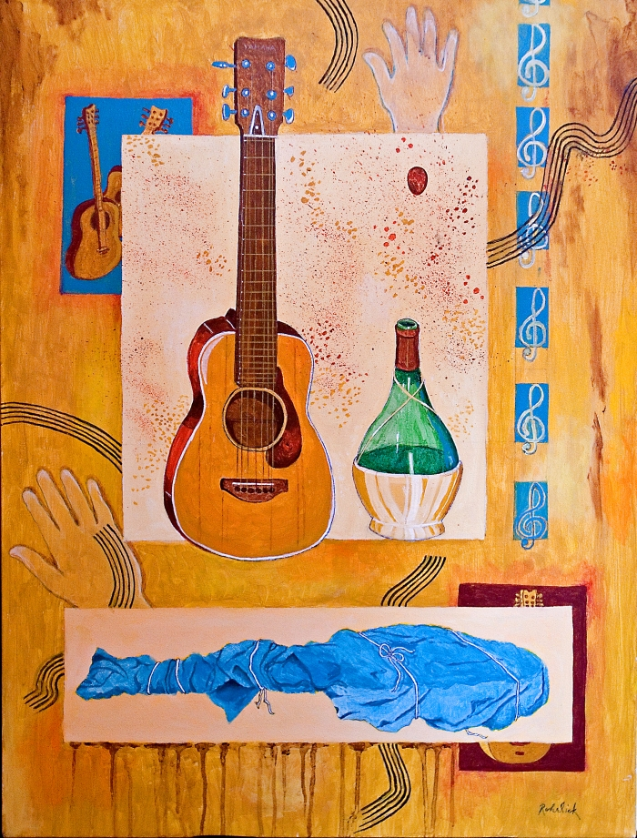 130-untitled-guitar-and-chianti-bottle-30-x-40-acrylics-on-canvas