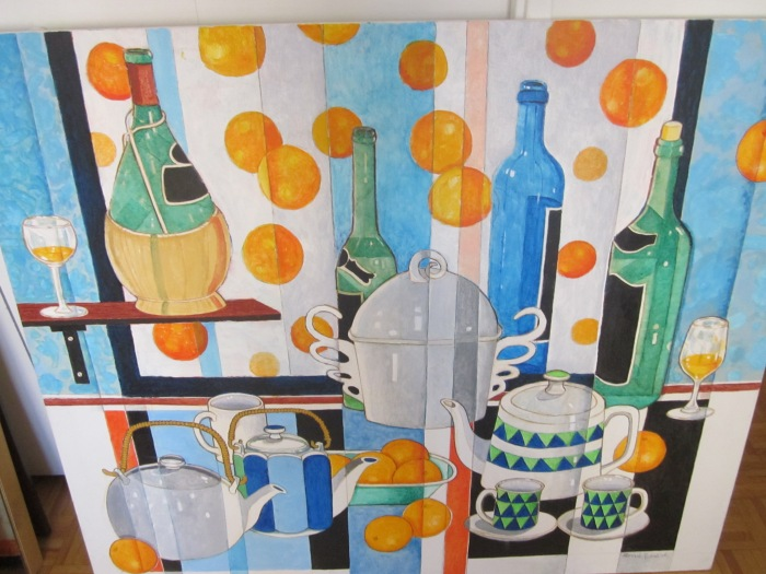 180 untitled (Oranges and Wine Bottles), 48- x 40-, acrylics on canvas
