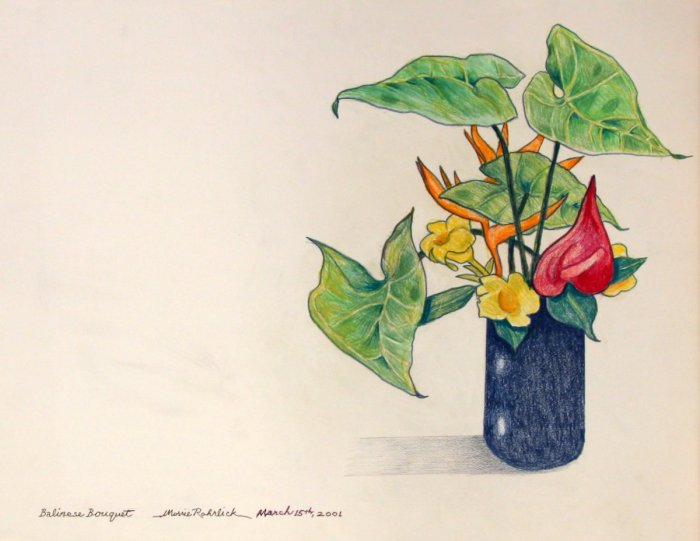 303 -Balinese Bouquet-, March 15th, 2001, 25 12- x 19 12-, colored pencils on paper