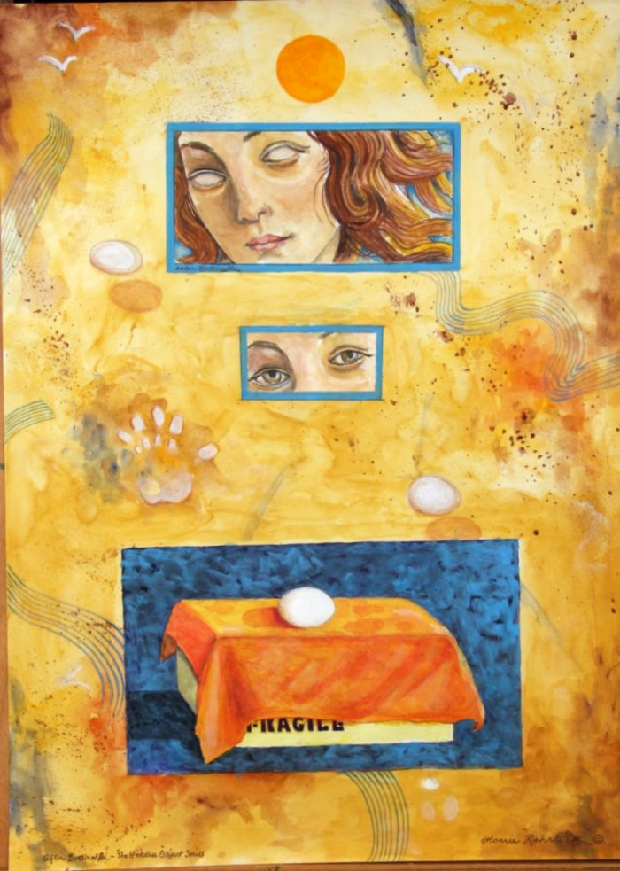 354 -After Botticelli (The Hidden Objects series)-, 21 12- x 29 12-, acrylics & colored pencils on paper