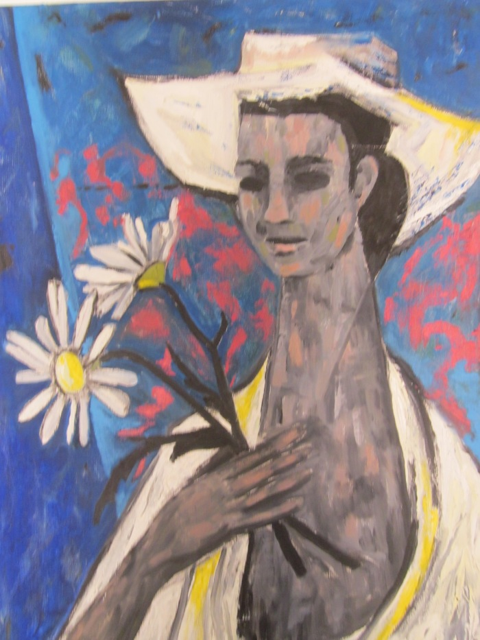 194 untitled (Ruth with White Hat and Daisies), 24- x 36-, acrylics on canvas