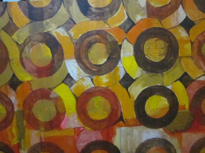257 untitled (Circles in Circles,) 36- x 24-, acrylics and collage (tissue paper) on canvas (1)