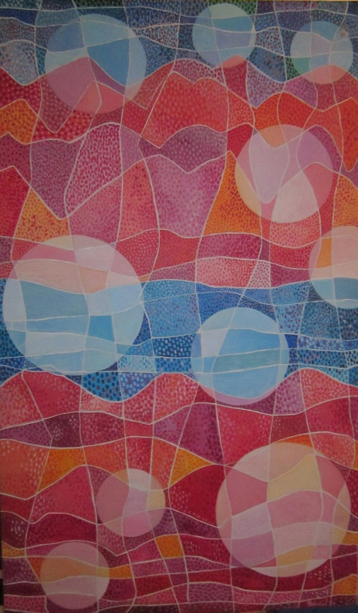 077 untitled (Abstract- Circles, Lines and Dots), 36- x 59 12-, colored pencils on paper