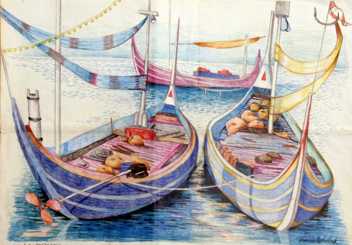 309 -Fishing Boats in Almed, Bali, Indonesia-, 29 12- x 22-, colored pencils on paper