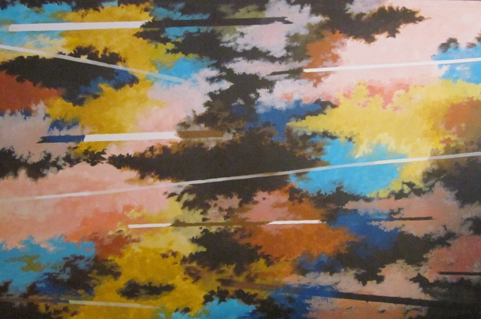 080 untitled (Clouds & Lines #2), 76- x 48-, acrylics on canvas