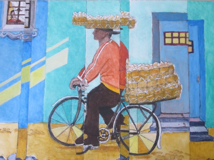 369 -Delivering the Breakfast Boletos (Rolls) or Home of the One-Legged Man-, 24- x 17-, acrylics on paper