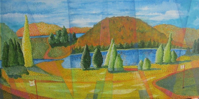 189 untitled (Ivry Golf Course), 48- x 24-, acrylics on canvas