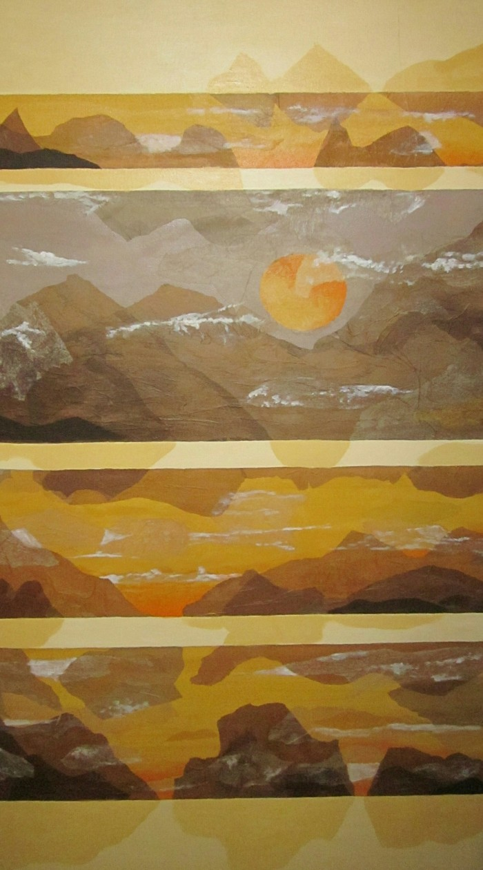 173 _Grand Canyon Suite_, 60_ x 36_, acrylics and collage (tissue paper) on canvas (1)